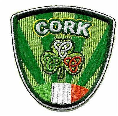 CORK Ireland Embroidered Irish Shield Patch Badge wi/ shamrock tricolor crests