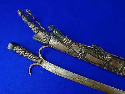 Antique Old African Africa Sword w/ Scabbard + Set of 4 Knife