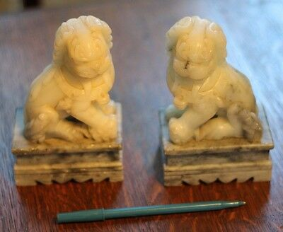 Vintage Pair Carved STONE Foo Dogs Statues Perfect As Found Hand Carved
