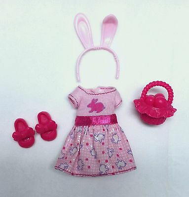Barbie Chelsea Kelly Doll Clothes Pink Easter Bunny Dress Shoes Basket headband