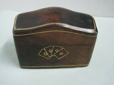 Antique playing cards box in Genuine leather Florence Italy