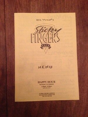 Bill Wyman STICKY FINGERS CAFE Menu Kensington London England 1990's
