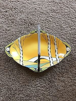 Hand-painted Art Deco Burleigh Cake Plate Dessert Serving Dish with handle c1935