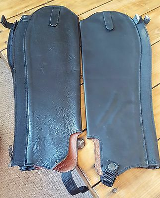 Black Leather Half Chaps Gaiters