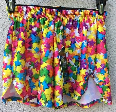 $50 NWT Zara Terez Multi Color Star Design Shorts Girls Size Medium 10/12