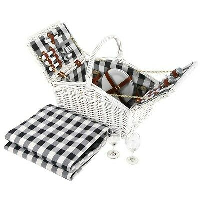 White Wicker Picnic Basket Set 2 Pers Blanket Carry BBQ Park Corporate Gift NEW
