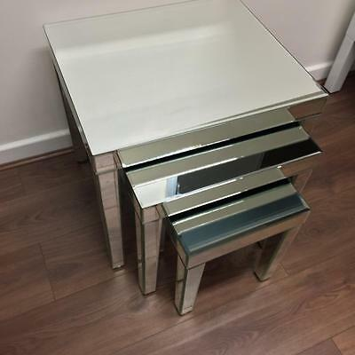 Venetian Mirrored Set/Nest of Tables - 3 Coffee Tables -  Ready Assembled