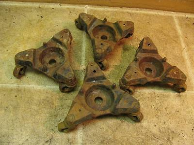 4 Vintage Universal Casters Cast Iron 3 Wheels Stove Piano Furniture Mover