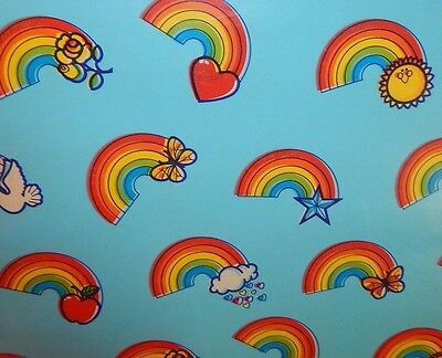 VINTAGE Wrapping Paper GIFT WRAP Peace Love BRIGHT RAINBOW All Occasion