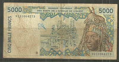 WEST AFRICAN STATES $5000 FRANCS P.713Ka (VF) FROM 1992.