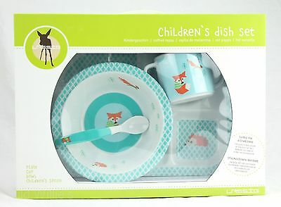 Children's Dish Set Fox, Plate Cup Bowl & Spoon by Lassig NEW