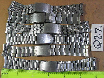 6pc Vintage SEIKO BAND Gents Stainless 19-20mm Parts Watch AsIs Q2.7