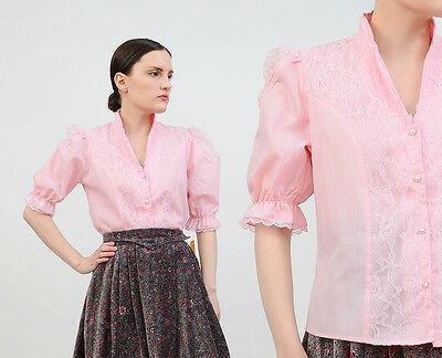 Vintage 70s pink sheer lace blouse VICTORIAN prairie puff sleeve top shirt S M