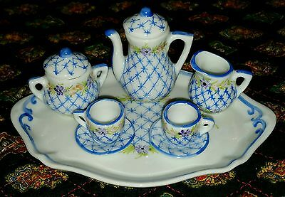 LIMOGES  MADE IN FRANCE PEINT MAIN DU BARRY SM MINIATURE TEA -COFFEE SET 8pc