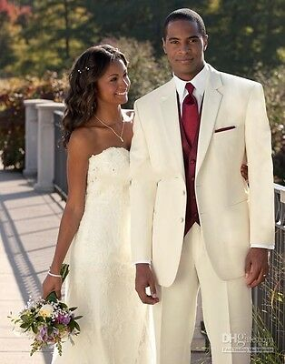 Custom Ivory Groom Outfit Groomsmen Tuxedos Wedding Men Suits Formal Party Suit