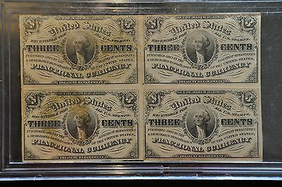 A Complete Set Of 4 Un-Cut 3 Cent 1863 Fractional Currency 3Rd Ed.