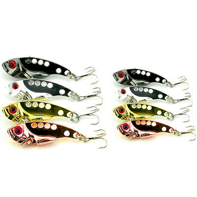 Lot 8pcs Metal VIB VIBE Sequin Fishing Lures Bass Spoon Crank Bait Tackle Hook