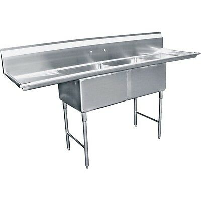 """NEW 2 Compartment Stainless Steel Sink Drainboards 72"""" #1918 Drain Included NSF"""