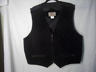 leather suede front quilted vest black Xl waistcoat sleeveless jacket hunting