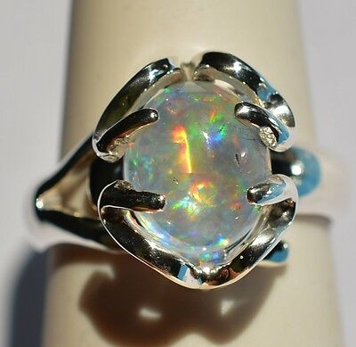 100% Natural Fire Opal & Sterling Silver Ring Jewelry Taxco Mexican Design Peña