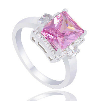 Fashion Silver Plated Pink Square Nice Cubic Zirconia Finger Band Ring Size 7-9