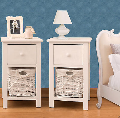 2X Wooden Shabby Chic Storage Bedside Units Tables Drawers with Wicker 2017 New