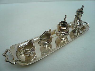 Solid Silver Tea Set, Sterling, Tray, English, Hallmarked 1976.