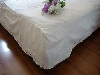 White Cotton Bed Sheet Valance Embroidered Sunflower Queen Size Faulty Discount
