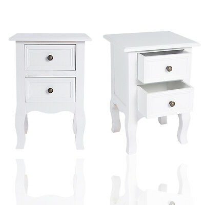 2PCS Bedside Tables Cabinet Vintage Nightstand Bedroom Home Furniture Storage