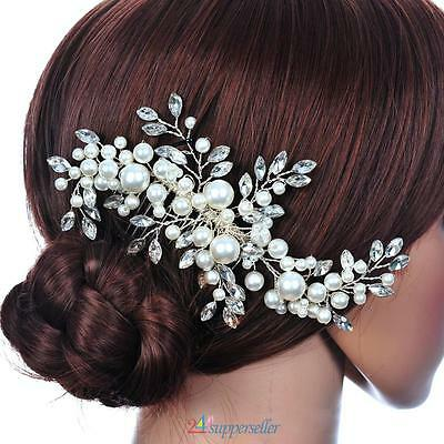 Wedding Bridal Hair Accessory Clip Comb Crystal Rhinestone Fauxl Pearl Headband