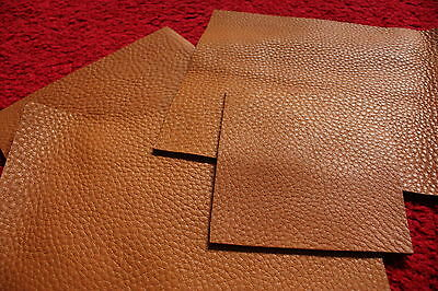 "SOFT full grain 2.5mm 6oz Brown Tan Pebble leather pieces 23""x23"" various sizes"