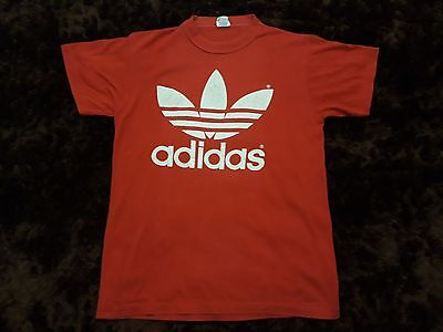VINTAGE 80S ADIDAS TREFOIL double sided T SHIRT MADE IN USA COTTON BLEND 50/50