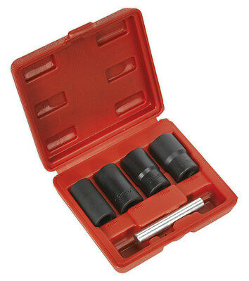 Locking Wheel Nut Removal Set 5Pc 17, 19, 21, 22Mm 1/2 Inch Sq Drive From Sealey