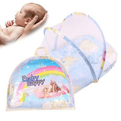 Baby Infant Portable Folding Travel Bed Crib Canopy Mosquito Net Tent /W Pillow
