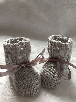 Hand knitted  Unisex Grey Baby  Booties Fits  Birth - 3 mths 'NEW '