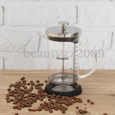 600ML Stainless Steel French Filter Glass Cafetiere Coffee Kettle Press Plunger