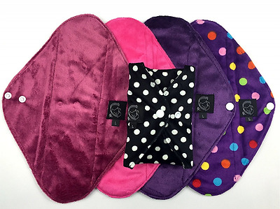 5-Pack Pink Collection Bamboo Cloth Menstrual Washable Reusable Sanitary Pads