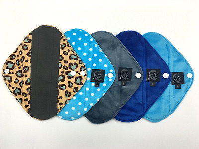 5 Pack BLUE COLLECTION - PANTY LINER / LIGHT FLOW - - Bamboo Cloth Sanitary Pads