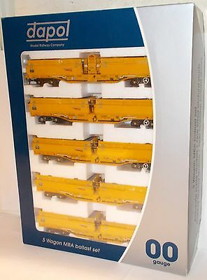 Dapol B859D - MRA Side Tipping Ballast Wagons x 5, Network Rail - Boxed.(00)