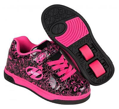 NEW Heelys Dual Up Girls Roller Skating Shoe Trainer in Black/Hot Pink Graffic