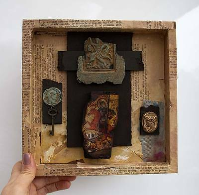 Mixed Media Vintage Art Box by Hahonin / St. George the Victorio - Ready to Hang