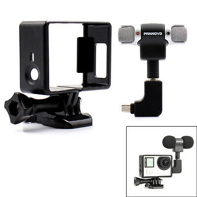 External Microphone Mic + Adapter + Standard Frame Kit for GoPro Hero 4 3+ 3