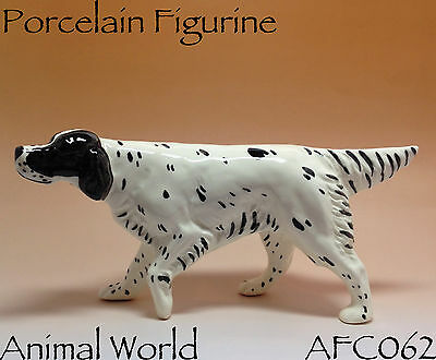 Figurine Dogs Setter porcelain Souvenirs from Russia Color White black