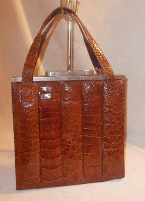 Rare super large Art Deco 1930's crocodile skin hand bag with large chrome frame