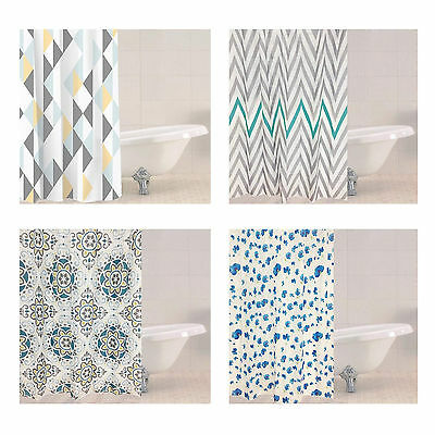 Modern Polyester Shower Curtain 4 Luxury Designs With 12 Hooks 180cm x 180cm New