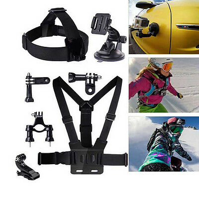 9-in1 Accessories Kit Head Chest Wrist Strap Bag for Gopro 2/3/4/SJ4000 Black