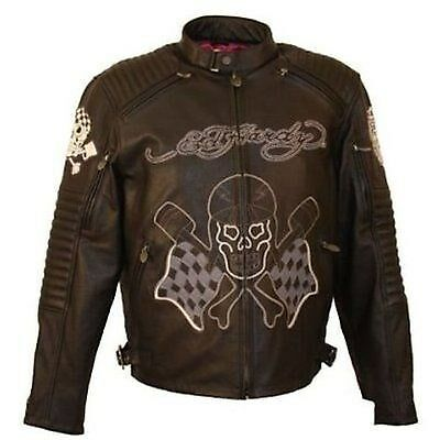 Mens Ed Hardy Motorcycle Black Leather Two Tone Racing Skull Eagle Jacket MD
