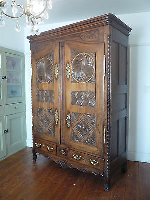 Large 18th Century Carved Oak French Armoire Wardrobe Cupboard