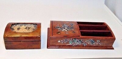 Lot (2) Vintage Chinese Lacquer Wooden Boxes ~ ESTATE RADM SHEAFER~Art # 21570