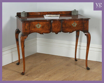 Antique English Maples & Co Burr Walnut Queen Anne Style Serving Table Sideboard